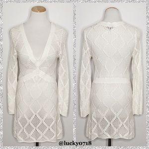 Magaschoni White Knit Tunic Dress Sz S